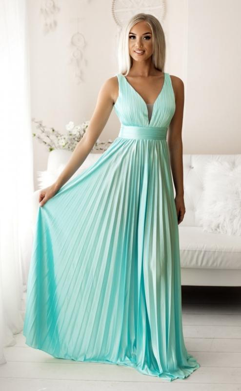 Zjawiskowa suknia plisowana w kolorze jasnego turkusu