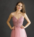 Tiulowa sukienka wieczorowa w kolorze pustynnego różu 2221