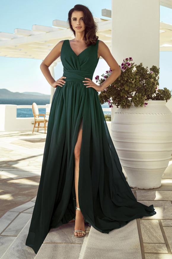 Cieniowana sukienka szyfonowa w odcieniach zieleni, m417