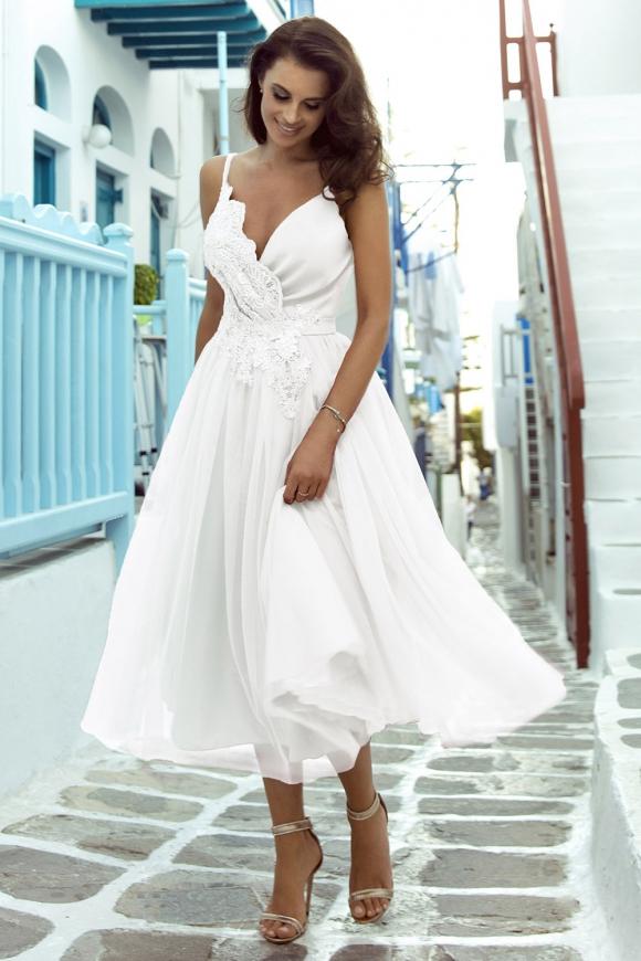 Elegancka sukienka ślubna midi z obfitą spódnicą m418
