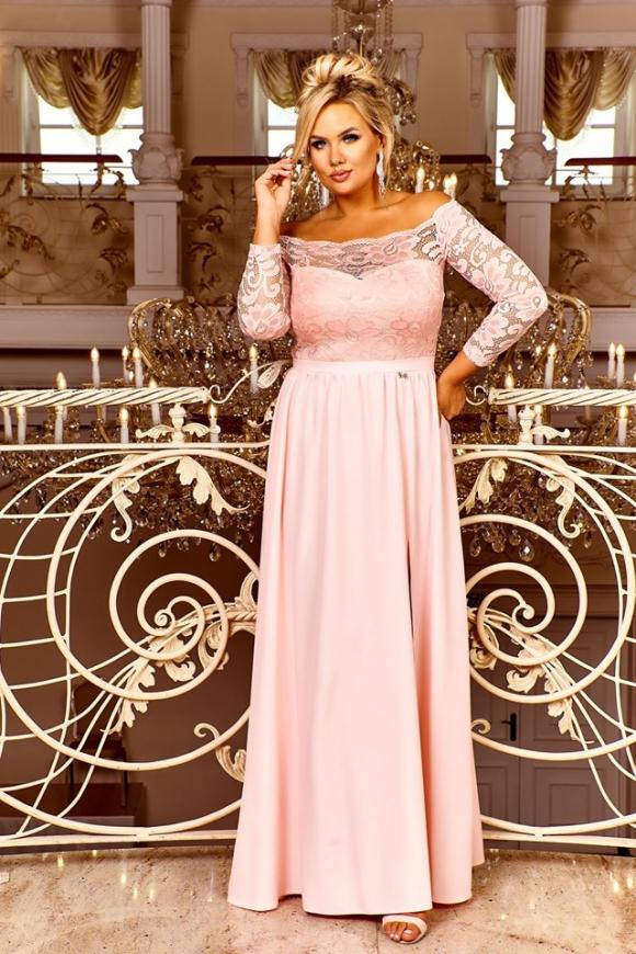Długa suknia na wesele, na studniówkę na bal w kolorze różowo brzoskwiniowym