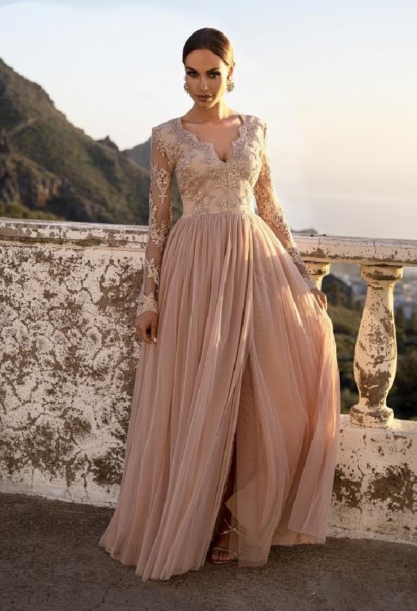 Karmelowa sukienka wieczorowa z tiulu z koronkową górą Adel