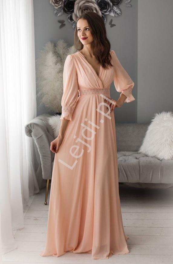 Długa sukienka szyfonowa w romantycznym stylu jasno różowa 1414