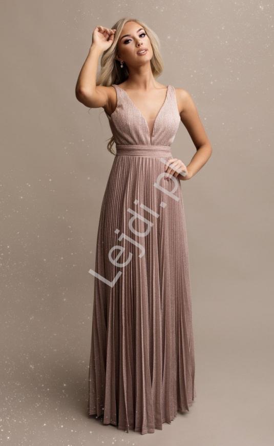 Długa plisowana sukienka lureksowa w różowym kolorze
