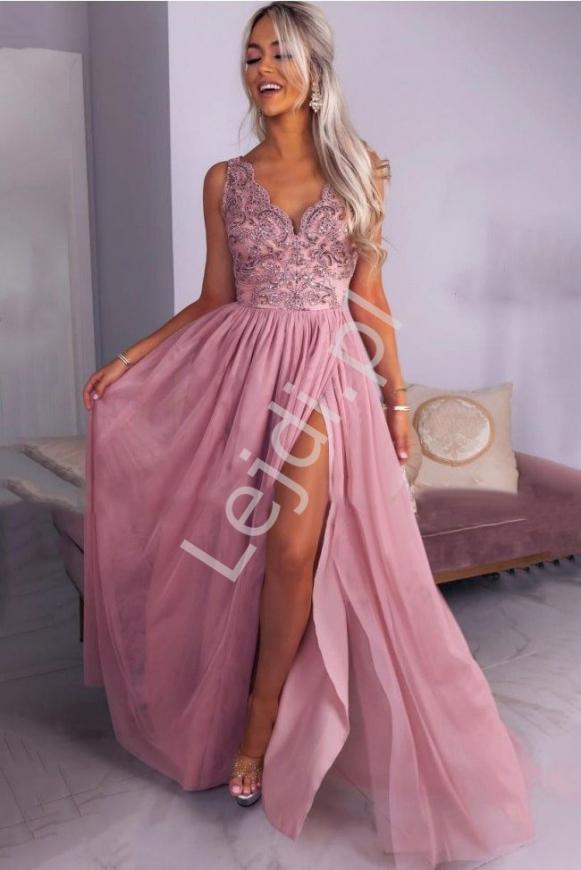 Pudrowo różowa sukienka tiulowa z koronkową górą Chiara