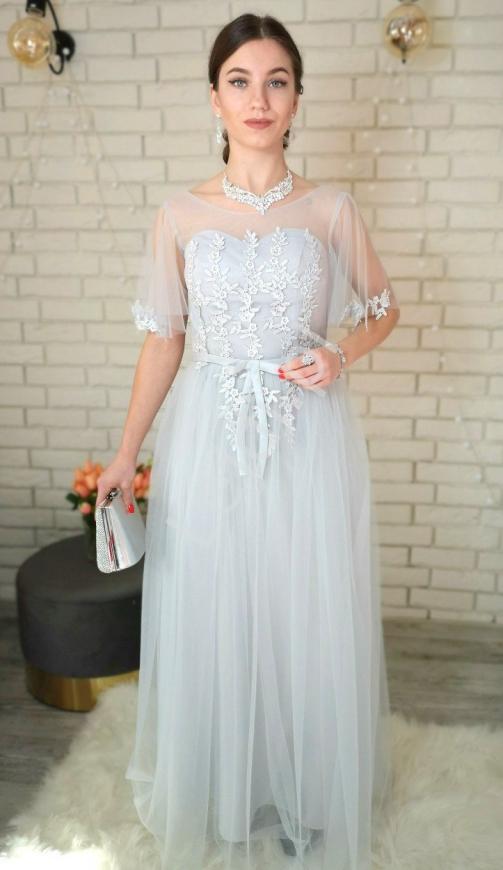 Elegancka sukienka wieczorowa z rękawami motylkami z koronką