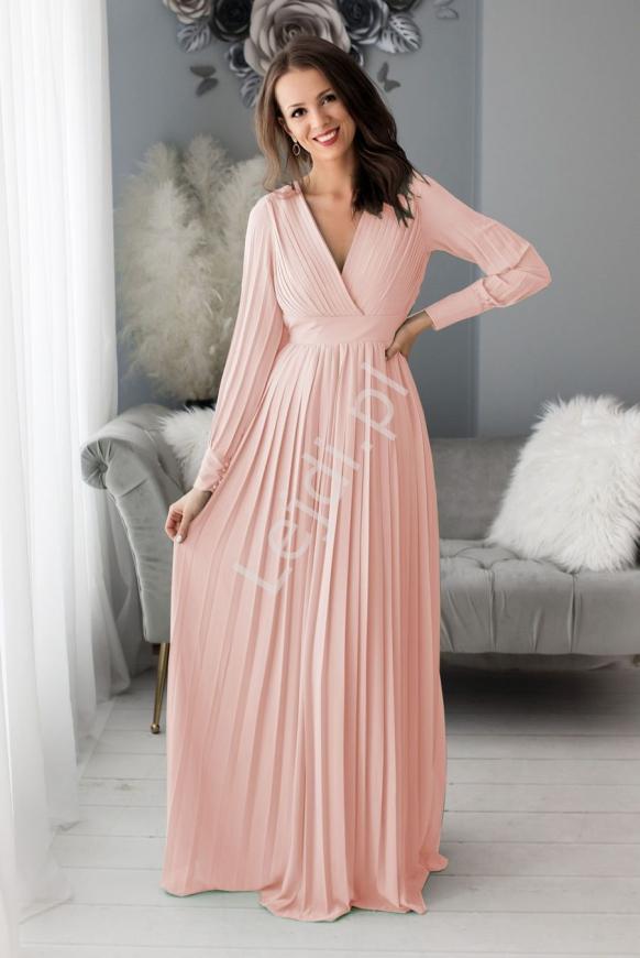 Jasno różowa plisowana wieczorowa sukienka z odkrytymi plecami 1412