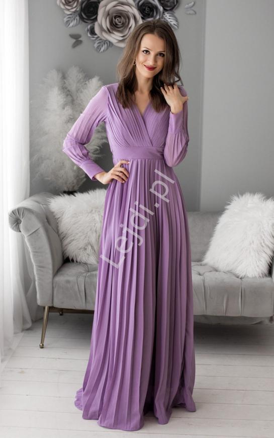 Długa suknia plisowana w kolorze lawendowym 1412