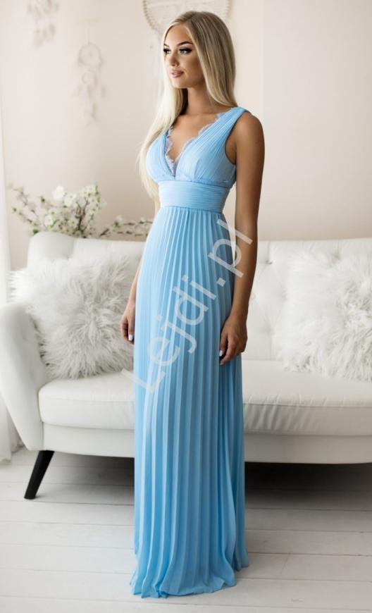 Szyfonowa sukienka plisowana z koronką, błękitna 2245