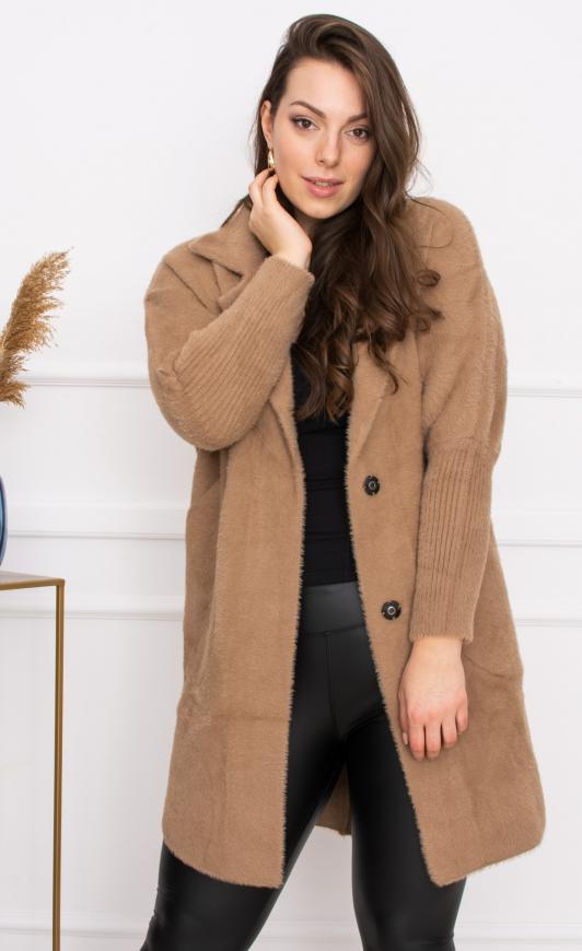 Beżowa Alpaka płaszcz uniwersalny od XS do XL