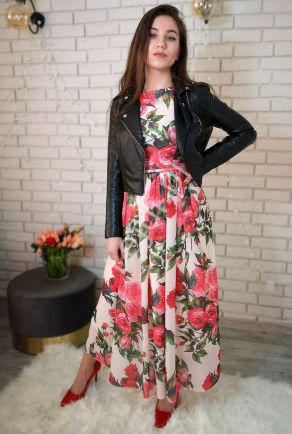 Szyfonowa sukienka w kwiaty 258