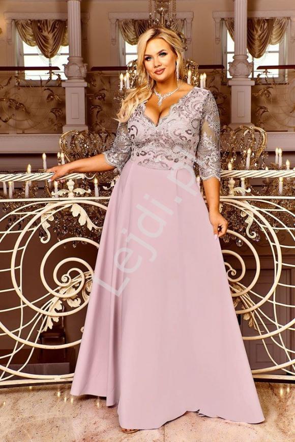 Elegancka sukienka wieczorowa plus size, pudrowo różowa Crystal