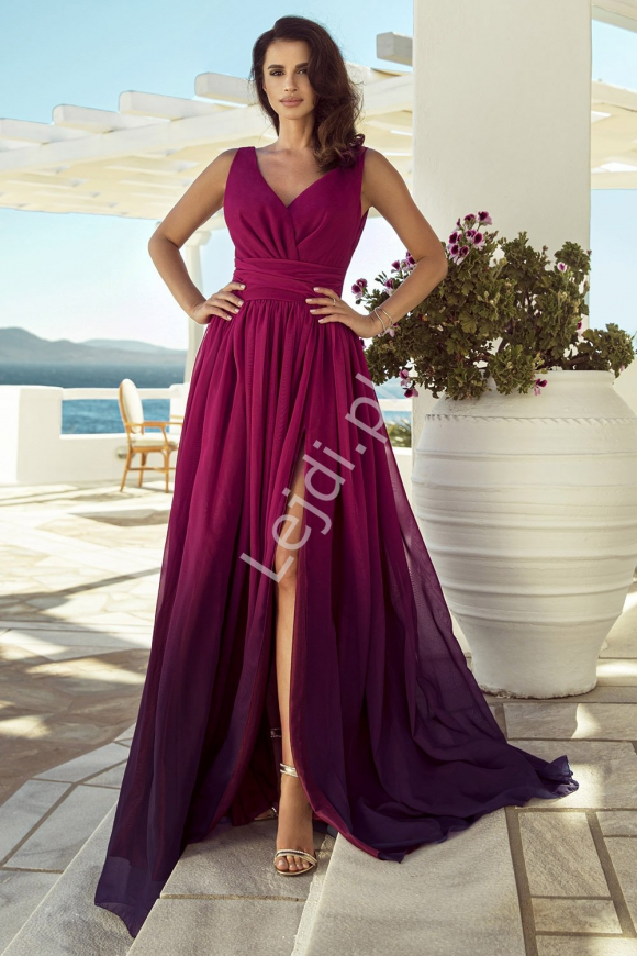 Amarantowa cieniowana sukienka wieczorowa, m417