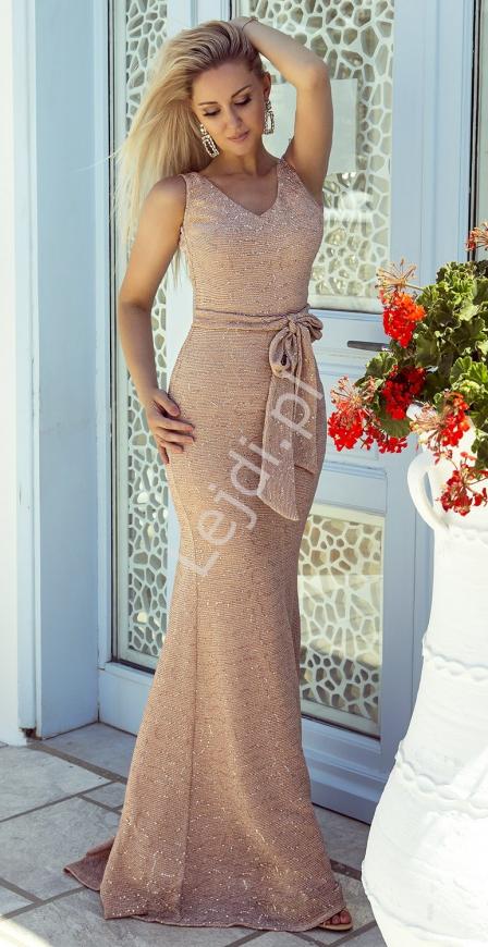 Fenomenalna sukienka złota lureksowa z cekinami m415