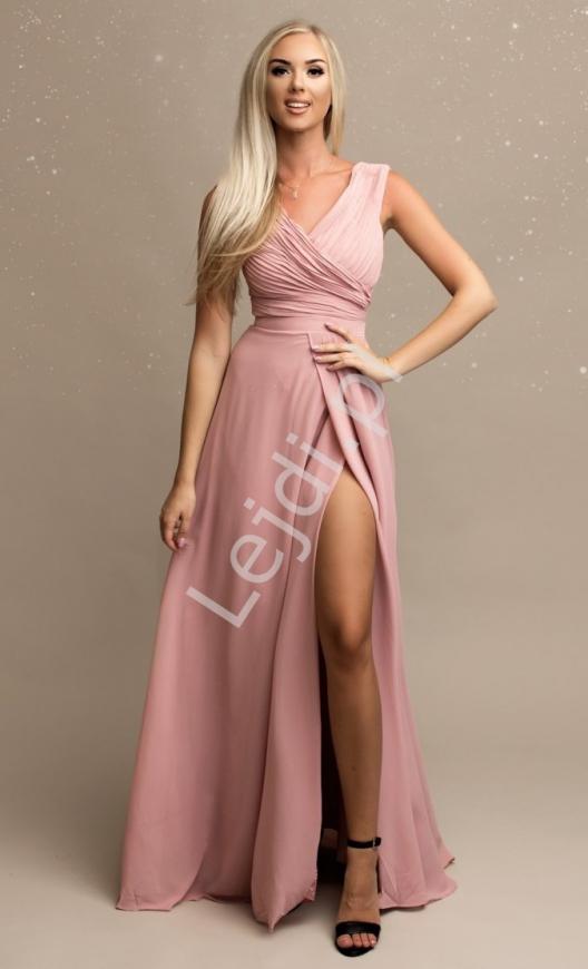 Pustynno różowa sukienka szyfonowa na wesele, na studniówkę
