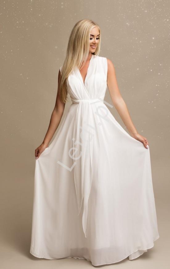 Szyfonowa sukienka ślubna w kolorze białym z wiązaniem na wiele sposobów