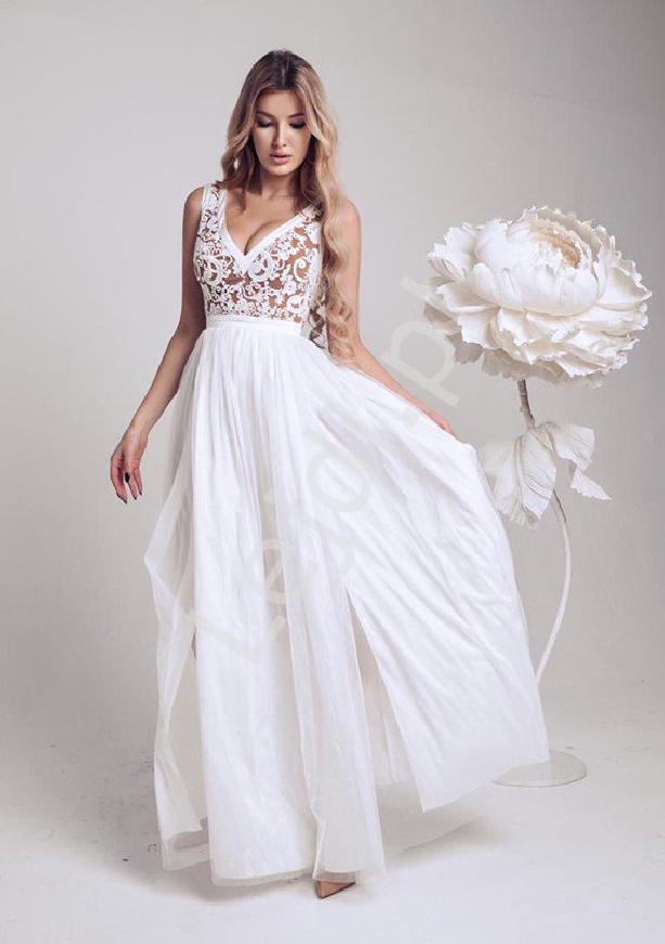 Ślubna sukienka tiulowa z koronkową biało beżową górą Charllotte