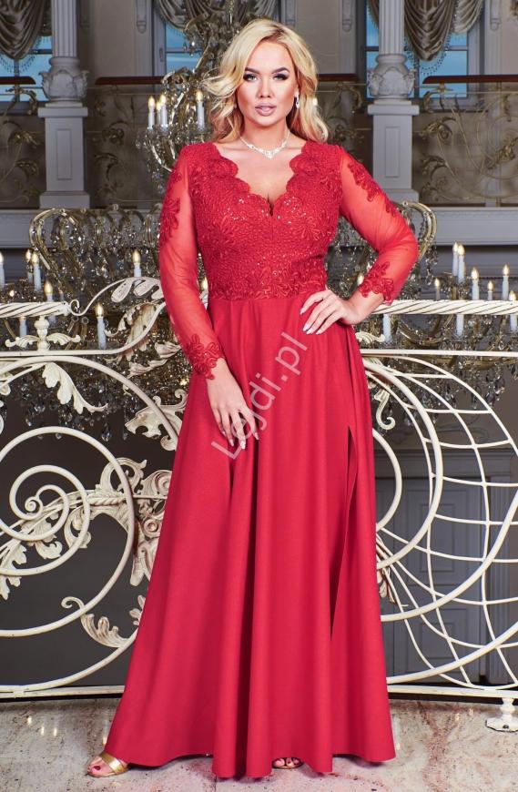 Długa suknia plus size wieczorowa w czerwonym kolorze, Carmen