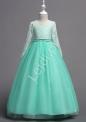 Miętowa długa suknia dla dziewczynki na wesele, na bal 023