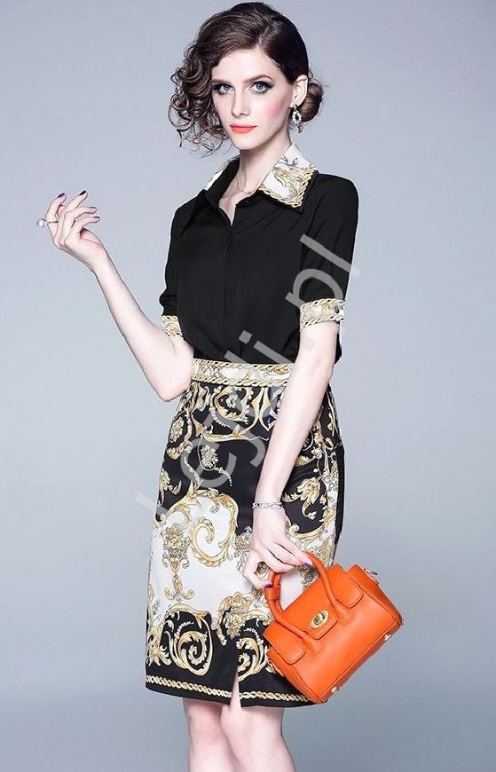 Elegancki komplet damski, koszula i spódnica