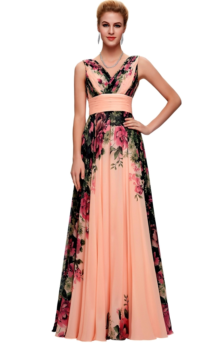 Długa kwiatowa suknia