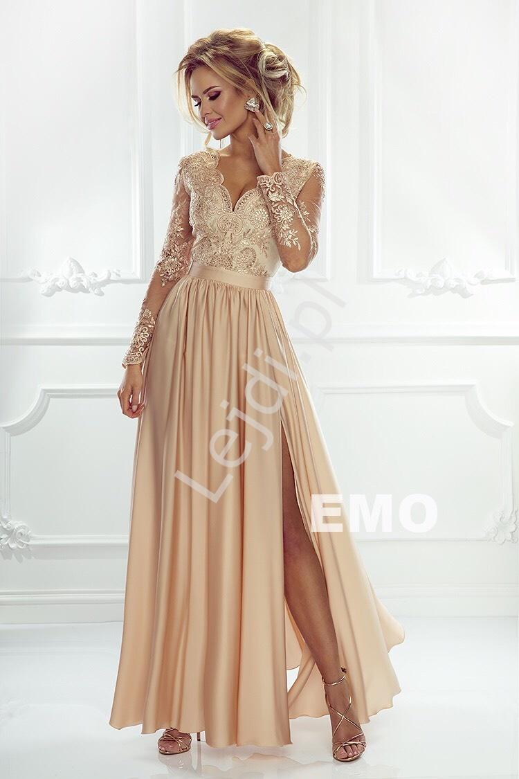 Długa złota sukienka na wesele